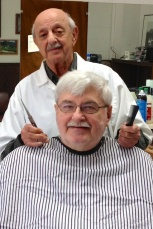 Frank Visovatti with barber Joe Sawaya-- old friends.